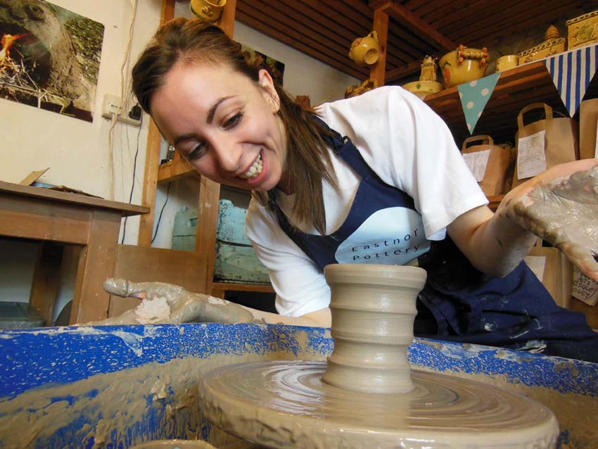 Learn how to make a pot on the pottery wheel at Eastnor Pottery & The Flying Potter