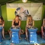 four mobile potters wheels at the big chill festival in eastnor provided by eastnor pottery and the flying potter