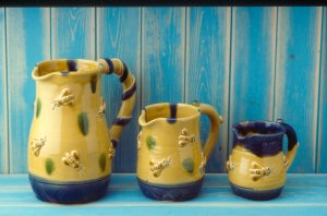 Bee themed jugs made at Eastnor Pottery by resident potter and co-owner Sarah Monk Williams