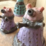 pottery daleks made using the coil pot technique