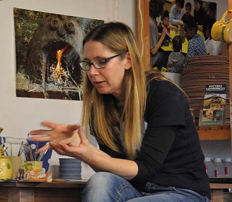 Sarah Monk Williams Explaining the various Pottery techniques used at Eastnor Pottery