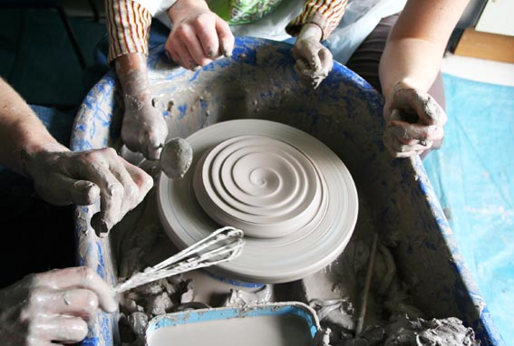 clay artist residency at beaufort special school birmingham led by ceramic artist jon williams