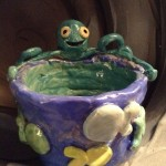 pottery coil pot and octopus design made at eastnor pottery herefordshire