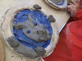 pottery plates made from clay at a workshop led by jon the potter from eastnor pottery