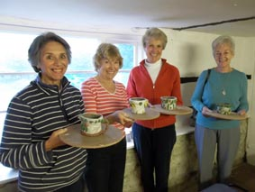 pottery session for friends at eastnor pottery
