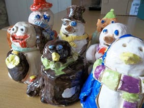thes wonderful figures were made by children who attended our pottery workshops in the christmas holidays dec 2011