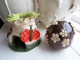 a couple of fired results from a recent pottery hen party held at eastnor pottery herefordshire