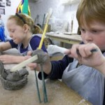 kids pottery workshops at brewery arts gallery cirencester led by jon williams from eastnor pottery and the flying potter