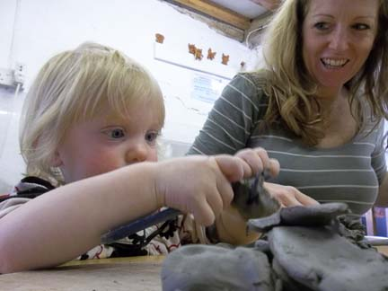 family pottery session at eastnor pottery and the flying potter herefordshie