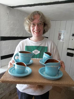 gillian and her cream jugs she made at eastnor pottery weekend potter's wheel workshop
