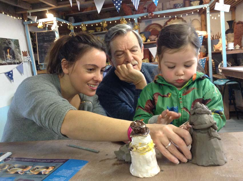 Family plays with clay and makes pottery at Eastnor Pottery & The Flying Potter in the West Midlands