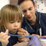 father and daughter get creative at eastnor pottery in herefordshire