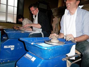 potter's wheel break-out activity led by jon williams from eastnor pottery and the flying potter held at coombe abbey hotel warwickshire
