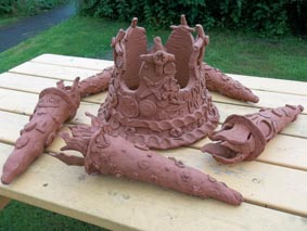 this collaborative sculpture was made by 25 adults with learning diffulties with jon williams from eastnor pottery and the flying potter in kidderminster to celebrate the olympic games and diamond jubilee