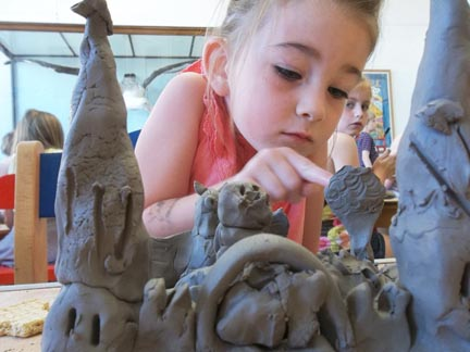 a princesses clay castle made by a young potter at worcester museum and art gallery with jon the potter from eastnor pottery and the flying potter