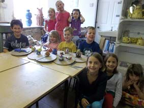 martha & friends celebrate her birthday at eastnor pottery in herefordshire by making and painting clay models