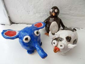 pinch pot animals made by visitors at eastnor pottery herefordshire