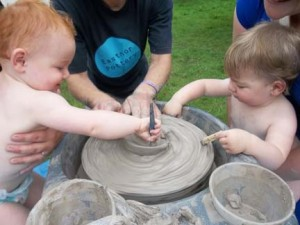 clay babies at just so festival 2012 supplied by eastnor pottery and the flying potter