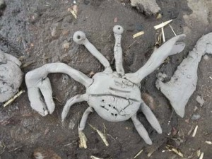 clay crab attached to mud boat @_moonbeams @mac
