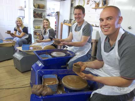 donna and friends celebrate her birthday by making pottery at eastnor pottery herefordshire