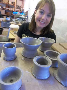 verity and her friends made pottery on the potter's wheel at eastnor pottery and the flying potter herefordshire
