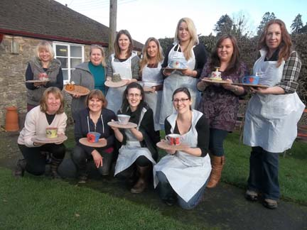 bev and her hens party at eastnor pottery in herefordshire in a creative and relaxed environment of the artists studio