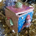clay trinket box made out of pottery by a child at eastnor pottery clay lessons