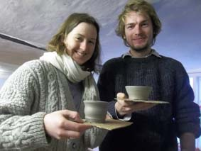 two lovely visitors who took advantage of our drop-in potter's wheel taster sessions here at eastnor pottery