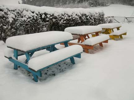 8 inches of snow on picnic benches at eastnor pottery malvern