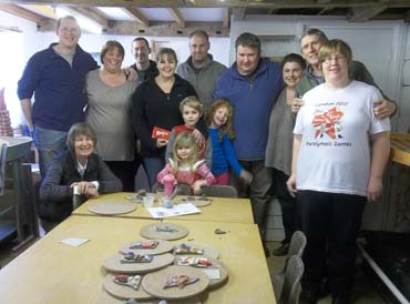 gill and her family make a clay coat of arms to celebrate her 40th birthday
