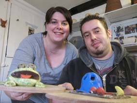 pottery frog made by couple who dropped in for a clay lesson at eastnor pottery