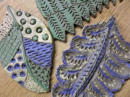 painted pottery clay leaf tiles