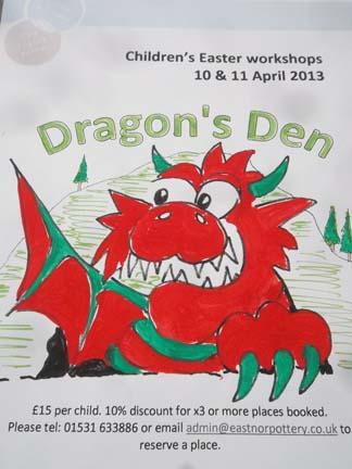 dragons den pottery poster with details of kids workshops in the easter school holidays 2013