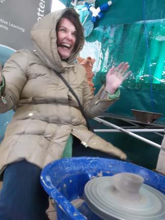 visitors to bromley arts festival tr out the potters wheel despite sub zero temperatures