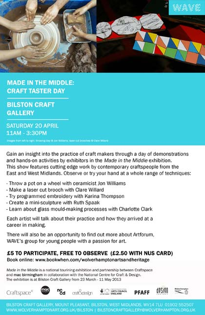 Craft taster day at bilston craft gallery 20th april 2013