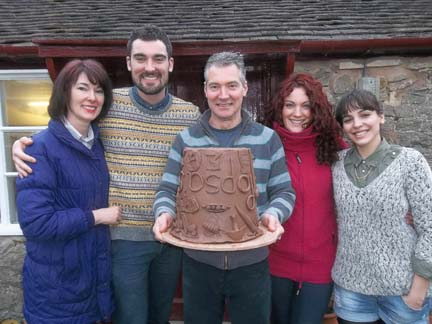 al and his family make a terracotta colaborative planter to celebrate his birthday at eastnor pottery herefordshire