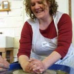Sophie makes pottery on the potter's wheel at Eastnor Pottery as part of her hen party celebrations