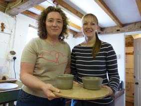 rachel and carla try their hand at making pottery at eastnor pottery and the flying potter herefordshire