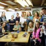 jess & her hens party making pottery at eastnor pottery herefordshire
