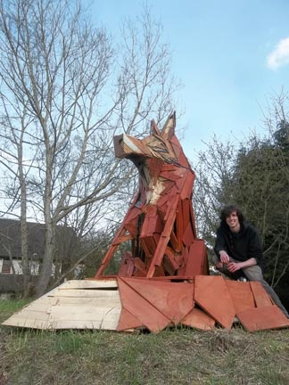 fox sculpture created from recycled wood made by Joe at Wigmore Youth Project