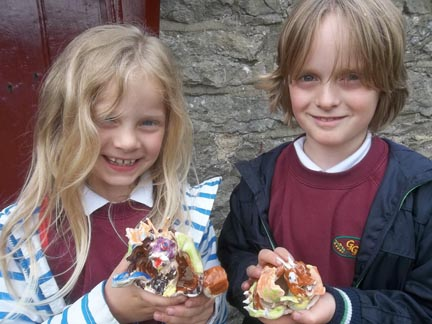 children collect their pottery dragons from Eastnor Pottery they made in the Easter holidays.