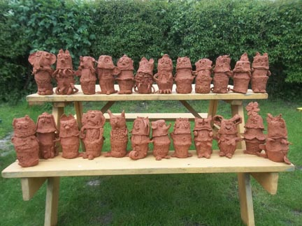 terracotta pottery figures made by the children at Elmbridge Infants School in Gloucester