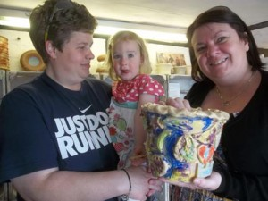 collaborative family pot made and painted at Eastnor Pottery Herefordshire