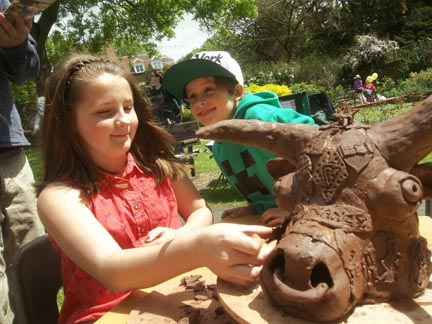 community ox roast collaborative sculpture run by Eastnor Pottery in the Walled Garden Ledbury