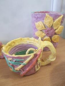 Ceramic pots made by parents at Washwood Heath Nursery School in Birmingham