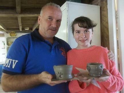 Daughter and dad try their hand at pottery in herefordshire