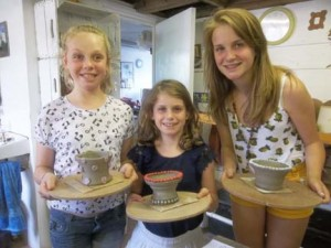 some of our drop-in pottery workshop participants at Eastnor Pottery