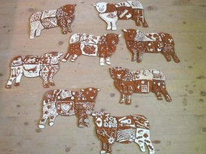 Sheep shaped tiles made by staff at Leominster Infant and Junior schools
