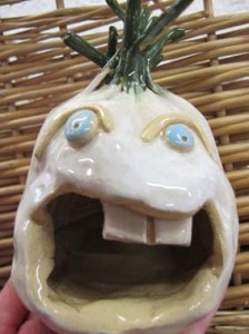 Glazed garlic beast made by pottery course participant at Eastnor Pottery in Herefordshire
