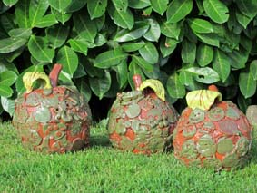 Ceramic apples made by visitors at Hereford Celebration event in Hereford